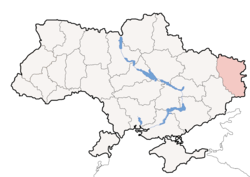 Location o Luhansk Oblast (red) athin Ukraine (blue)