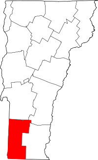 Map of Vermont highlighting Bennington County.svg