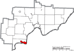 Location of Belpre in Washington County