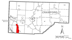 Location of West Fallowfield Township in Crawford County