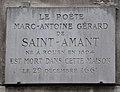 Marc-Antoine Gérard de Saint-Amant plaque - 26 rue de Seine, Paris 6.jpg