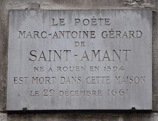 Marc-Antoine Gérard de Saint-Amant plaque - 26 rue de Seine, Paris 6