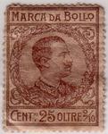 Marca da Bollo Cent. 25 oltre frazione volgare due decimi (vulgar fraction two tenth) Vittorio Emanuele III (revenue stamp Italian).TIF