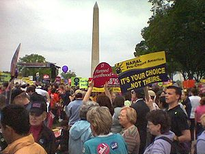 United States pro-choice movement - Abortion-rights activists before the Washington Monument in Washington, D.C., at the March for Women's Lives in 2004