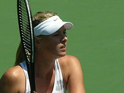 Maria Sharapova practicing at Bank of the West Classic 2010-07-25 6.JPG