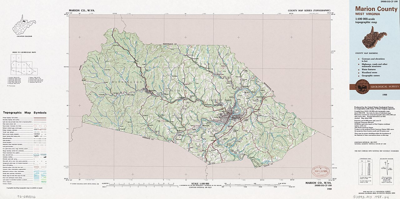 Marion Virginia Map.File Marion County West Virginia 1 100 000 Scale Topographic Map
