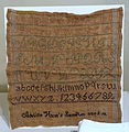 Marking sampler, Adeline Hunt, probably Concord, early 1800s, linen, wool - Concord Museum - Concord, MA - DSC05868.JPG