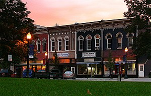 Mason, Michigan - Downtown Mason, looking west from the Town Square.