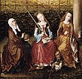 Master Of The View Of Ste Gudule - St Catherine of Alexandria with Sts Elizabeth of Hungary and Dorothy - WGA14637.jpg