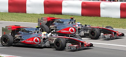 Lewis Hamilton and Jenson Button scored a 1-2 finish at the 2010 Canadian Grand Prix McLaren duo 1-2 finish 2010 Canada (cropped).jpg