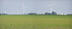 Meadow Lake Wind Farm - View westward of Indiana State Road 43 in White County