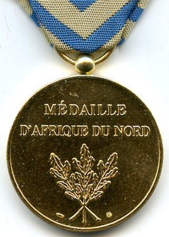 North Africa medal - Reverse of the Médaille d'Afrique du Nord