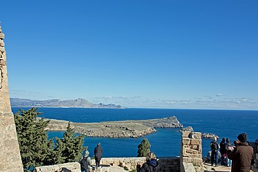 Mediterranean from northeast acropolis of Lindos.jpg
