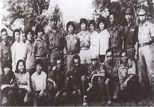 Indonesia–Malaysia confrontation - Members of the Sarawak People's Guerilla Force (SPGF), North Kalimantan National Army (NKNA) and Indonesian National Armed Forces (TNI) taking photograph together marking the close relations between them during Indonesia under the rule of Sukarno.