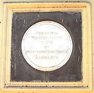 Christian Friedrich Schwarz - Image: Memorial Stone at the CSI Schwartz Memorial Church, Tanjore