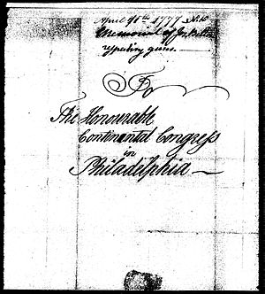 Belton flintlock - Cover page of Belton's first letter to the Continental Congress, sent April 11, 1777