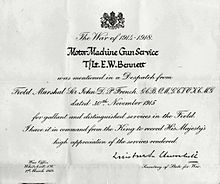 formal notice of a soldier in the motor machine gun service mentioned in despatches by field marshal sir john french for gallantry at the battle of neuve