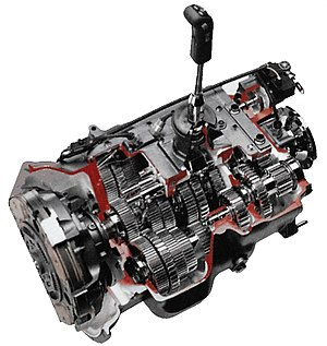 Non-synchronous transmission - Cut-away view of a commercial motor vehicle non-synchronous transmission