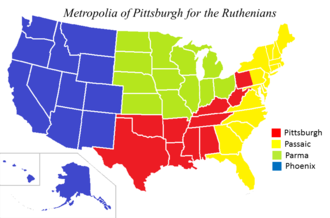 Ruthenian Catholic Archeparchy of Pittsburgh - Metropolia of Pittsburgh map