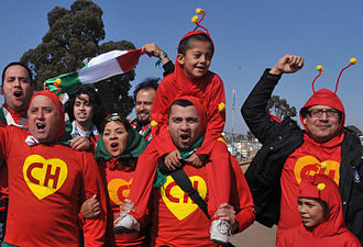 El Chapulín Colorado - Mexico supporters at the 2010 FIFA World Cup. Chespirito's characters are widely known in Latin America and as a result, fans frequently dress as them to show affiliation with Mexico's national football team.