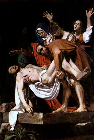 Mary of Clopas - The hysteria of Mary of Cleophas in Caravaggio's The Entombment of Christ (1602).