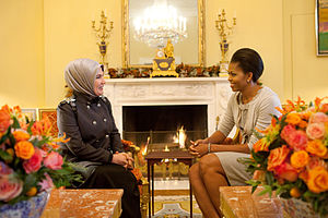 Emine Erdoğan - Emine Erdoğan meets with Michelle Obama in the Yellow Oval Room, White House, 8 December 2009
