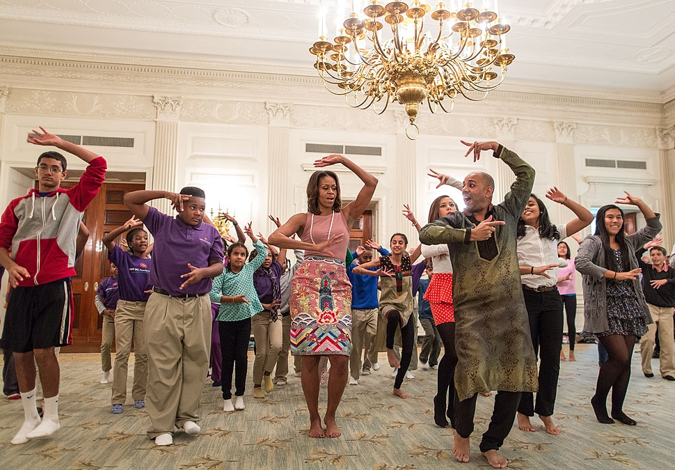 Michelle Obama joins students for a Bollywood Dance Clinic in White House