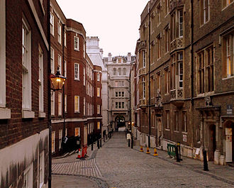 Temple, London - Looking down Middle Temple Lane; the buildings are occupied by barristers' chambers.