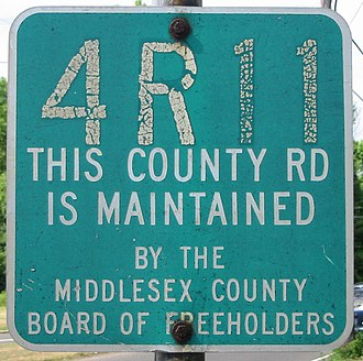 County routes in New Jersey - A sign for Middlesex County's pre-600-series numbering