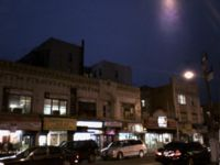 Midwood shopping street at night