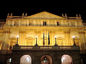 La scala by night, Milano, Italy.