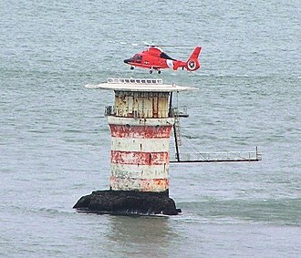 Mile Rocks Lighthouse - Mile Rocks Lighthouse with helicopter landing on the top