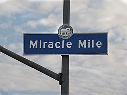 Miracle Mile signage located at the intersection of San Vicente Boulevard & Hauser Street.