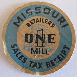 "Sales tax token - A 1935 Missouri 1 mill token, known in slang as a ""milk top"" owing to its similarity to milk bottle caps of the era."