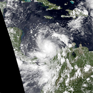 Meteorological history of Hurricane Mitch - Tropical Storm Mitch shortly after forming