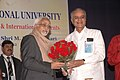 Mohd. Hamid Ansari being welcome by the President & Founder Director, Symbiosis International University, Dr. S.B. Majumdar at the interacting session with the students of the University, in Pune on July 18, 2009.jpg