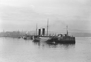 SS Mona's Queen (1885) - Mona's Queen berthed at the Victoria Pier, Douglas with the Queen of the North pictured ahead.