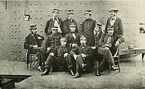 фотография, показывающая первоначальных Мониторских офицеров в 1862 году.