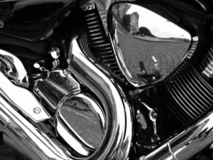 Reflections on a motorcycle