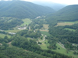 "Community of Seneca Rocks, West Virginia at the confluence of Seneca Creek and the North Fork South Branch Potomac River. The ""Seneca Rocks Discovery Center"" is at the center of the photo which was taken from atop Seneca Rocks."