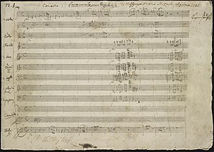 Piano Concerto No. 21 (Mozart) - First page of the autograph manuscript