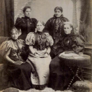 Anna Adams Gordon - Temperance group in 1895, back l to r. Gordon, Mary E. Sanderson, (front) Agnes Elizabeth Slack, Frances E. Willard, and Lady Henry Somerset