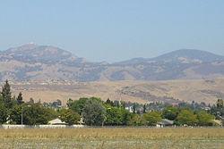 Typical chaparral landscape. Photo of Mount Hamilton, a peak southeast of Milpitas.