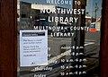 Multnomah County Library Northwest branch with closure notice during 2020 coronavirus epidemic.jpg