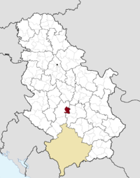 Location of the municipality of Vrnjačka Banja within Serbia