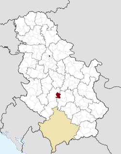 Расположение муниципалитета Врнячка Баня в Сербии