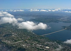 Lake Washington - The Lacy V. Murrow floating bridge on the lake is the second longest such bridge in the world