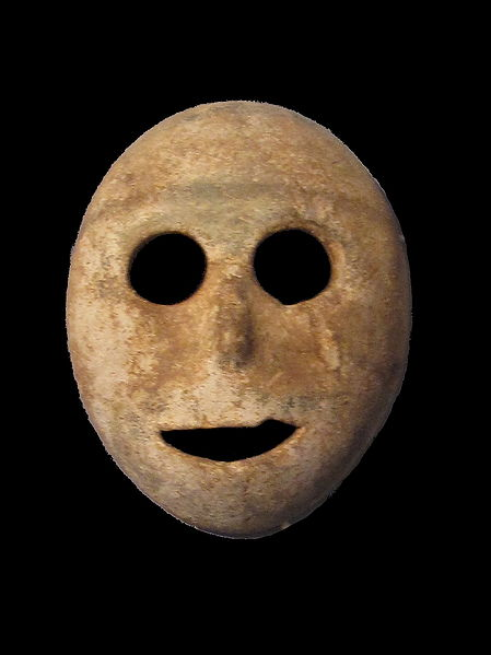 Neolithic stone mask, photograph by Gryffindor