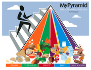 The updated USDA food pyramid, published in 2005, is a general nutrition guide for recommended food consumption for humans.