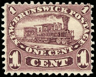 Postage stamps and postal history of New Brunswick - New Brunswick's 1860 issue featured several notable stamps, including this one cent train - the first train ever depicted in a postage stamp